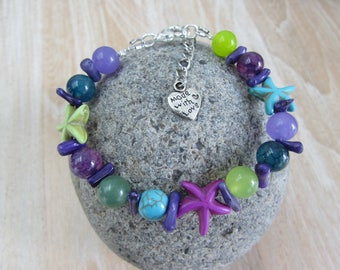 """Starfish"" Purple-turquoise-green natural stone bracelet"