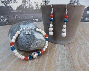 "Set bracelet and earrings natural stone ivory-blue-orange ""bubble"" Lampwork bead"