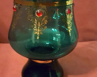 Italian glass vase gilded jewelled