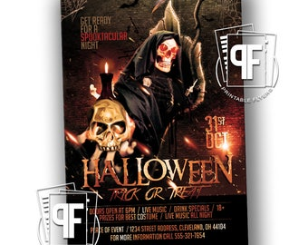 Halloween Party Invitation - Halloween Party Flyer - Trick or Treat Flyer - Trick or Treat Invitation - Trunk or Treat
