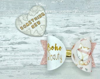 Peach fox bow, pink glitter bow, boho hair bow, girls birthday gift, baby headband, personalised gift, personalised bow