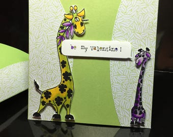 card model unique Valentine's day... giraffes ;-)
