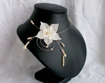 Necklace - Nude - wedding Pearl ivory evening silk flowers
