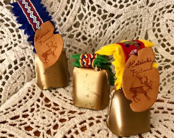 Set of Vintage Souvenir Mini Reindeer Bells Helsinki Finland