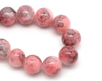10 glass 10mm round beads pink set M02418