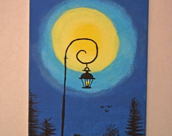 Midnight Lantern Painted on 4 X 6 Canvas Panel