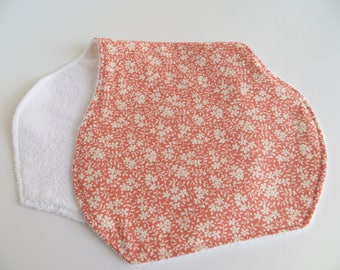 Baby Burp Cloth - Coral and White Floral Burp Cloth - Baby Girl Burp Cloth - Baby Accessories - Baby Shower Gift