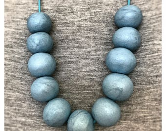 Steel Blue Beaded Polymer Clay Necklace