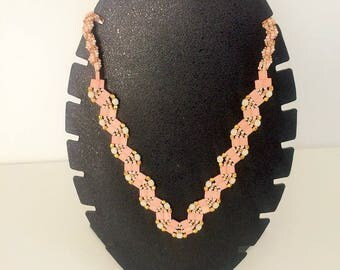 Beige, coral and gold beaded Choker necklace