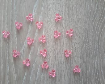 Set of 16 pink spacer beads