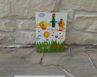 Folded card + envelope bird hen