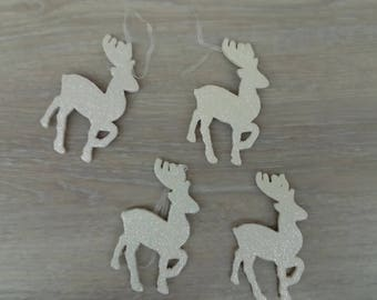 Set of 4 reindeer Christmas decoration to hang