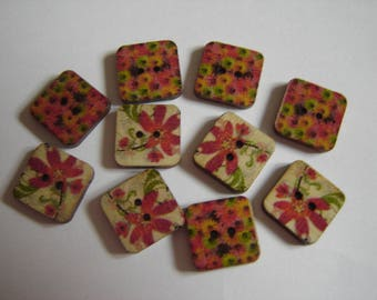 10 BUTTONS WOOD FLOWER SHAPED SQUARES / / 15 MM / / SET 11