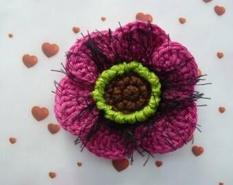 Fuchsia pink poppy crocheted in cotton
