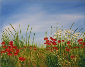 Painting, painting, painting on canvas, poppies, acrylic on canvas.