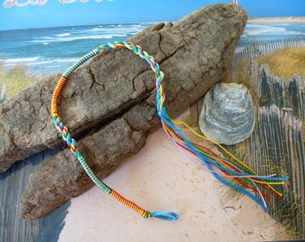 Friendship Bracelet lucky Indian blue braided yarn and threads with loop