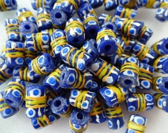 tube beads etniques origin Africa 14 mm set of 8 colors Blue and yellow recycled glass