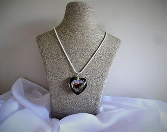 Murano style necklace snake chain 60 cm with black heart glass mirror pendant