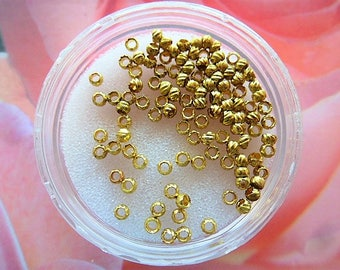 vintage French crimps beads DrawString gold tone 2 mm set of 150 jewelry creations