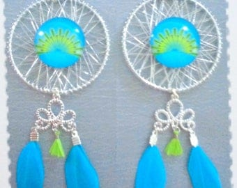 Dream catcher earrings silver metal with glass cabochon Peacock feather, jewelry, gift, blue feather, green tassel