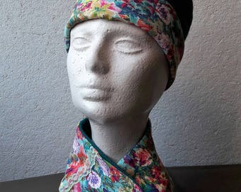 Hat and scarf green and floral