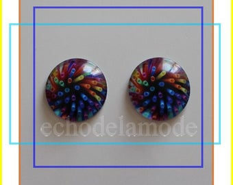 2 cabochons 20 mm round glass multicolored rf114