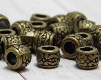 20pcs - 7x5mm - Metal Beads - Drum Beads - Antique Bronze - Bronze Beads - Bronze Spacers - Spacer Beads - Large Hole Beads - (709)