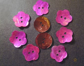 9 buttons in bright pink and golden brown Pearl 16 mm