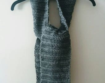 Gray crochet scarf