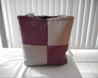 Grey and purple checkered bag