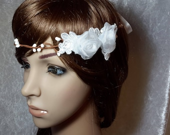Adjustable headband Crown lace and white flowers