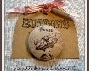Button 28mm Vintage Lady collection