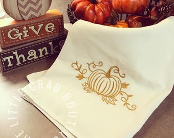 Embroidered Pumpkin Kitchen Flour Sack Towel