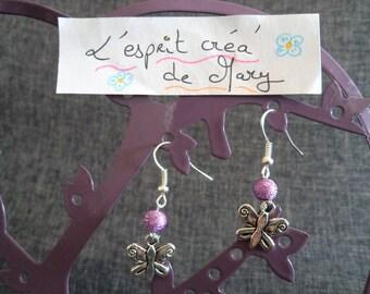 Purple Butterfly design earrings