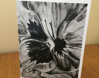 Pansy charcoal print card