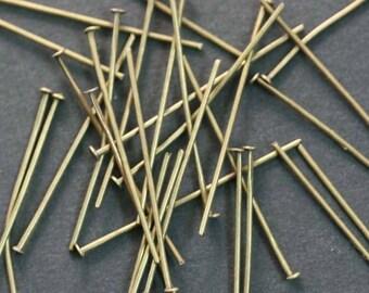 50 PCs 20 x 0, 8 mm flat head pins, bronze