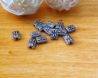 12 spacer rectangle shape with relief decorations, silver aged