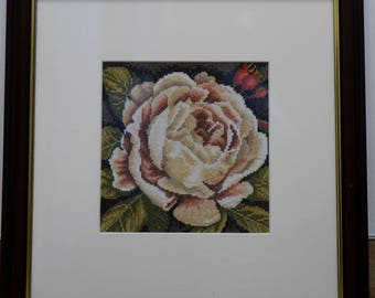 """Embroidery picture """"White rose"""""""
