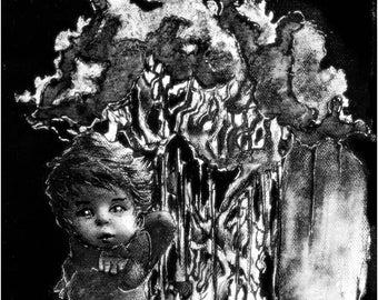 Ange offrant un baiser-Encre de chine en noir et blanc sur toile
