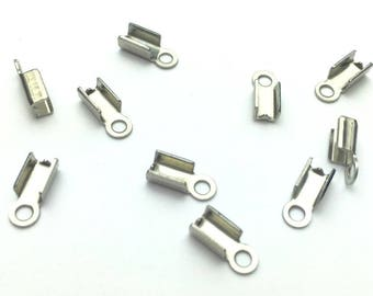 10 clips silver laces and cords 2mm - 4 mm x 9mm