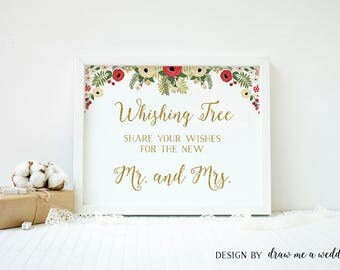 Christmas Wedding Wishing Tree Sign, Christmas Bridal Shower Guest Book Sign, Wish Tree Guest Sign, Christmas Wedding Sign, Printable - CH01