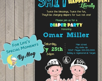 Printable Diaper Party Baby Shower Invitation - Printable file- It's Twin Boys Baby Shower Invite