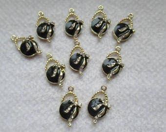 PENDANTS BOWS RIBBONS round gold plated and enamel black bow Ribbon with Rhinestone set of 4 units