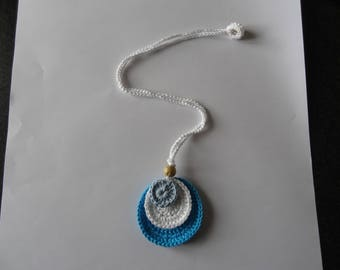 Crochet, turquoise, white and blue necklace
