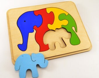 Baby gifts Wooden puzzle Montessori toys Wooden animal gift Educational toys Animal puzzle Elephants family Toy for autism Gift 1st