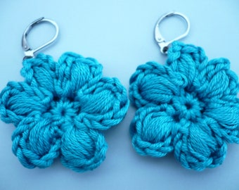 earrings, peacock blue cotton crochet flower