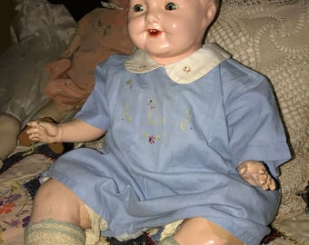Antique Big Chubby Amberg Vanta Baby Composition Doll