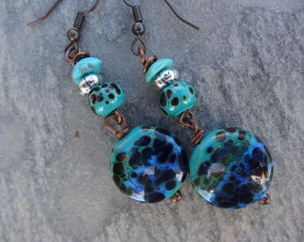 "Earrings ' ""sea leopard"" poetic, maritime, rustic - spun glass beads, gemstone, metal"