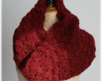 Wine-colored crocheted Snood