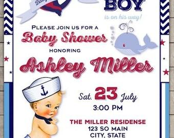 Little Sailor Boy Baby Shower Invitation - Anchors away Baby Shower Invite - Vintage Baby Shower Printable Invite